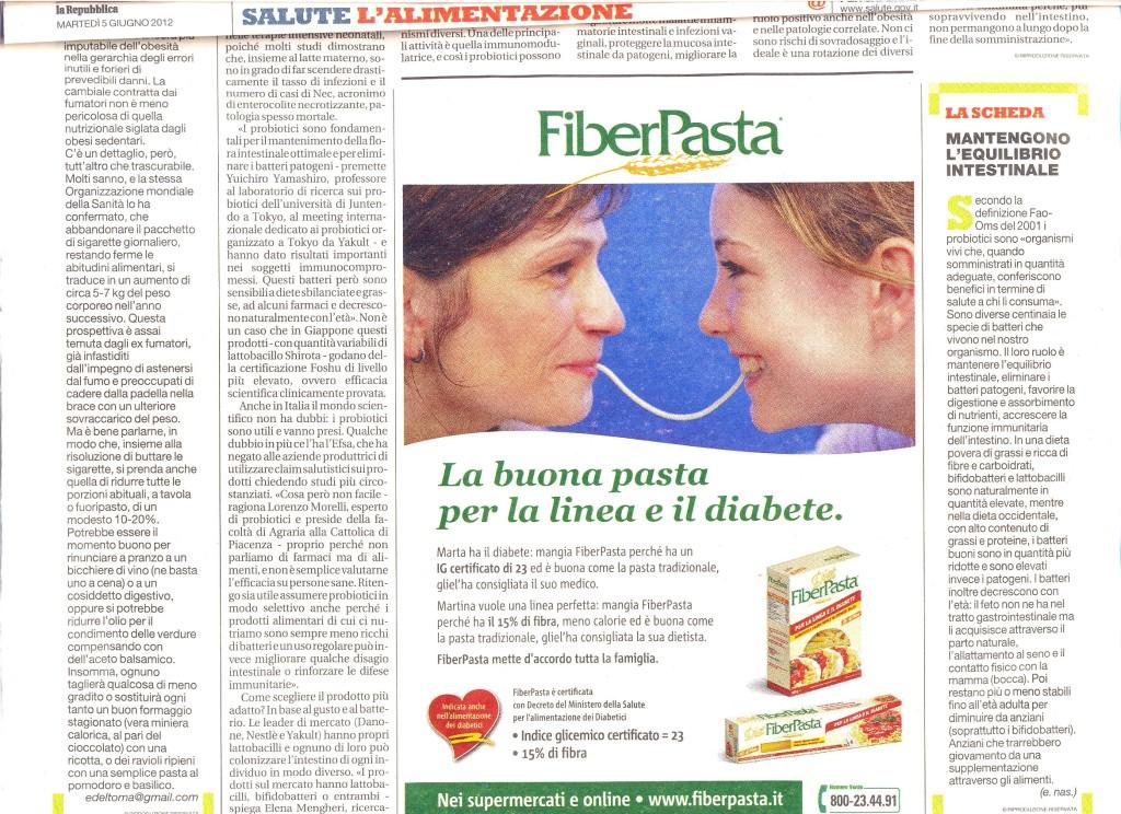 FiberPasta sul quotidiano La Repubblica Giugno 2012