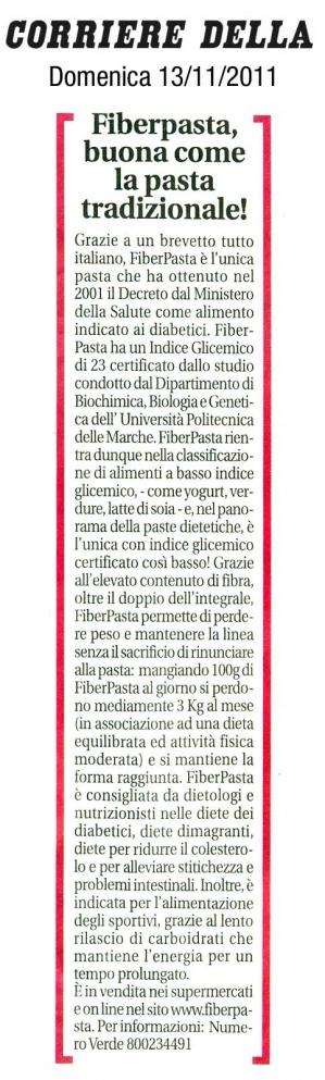 FiberPasta su Corriere della Sera Novembre 2011